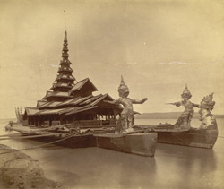 [King Thibaw's state barge moored on the Irawaddy at Mandalay.]